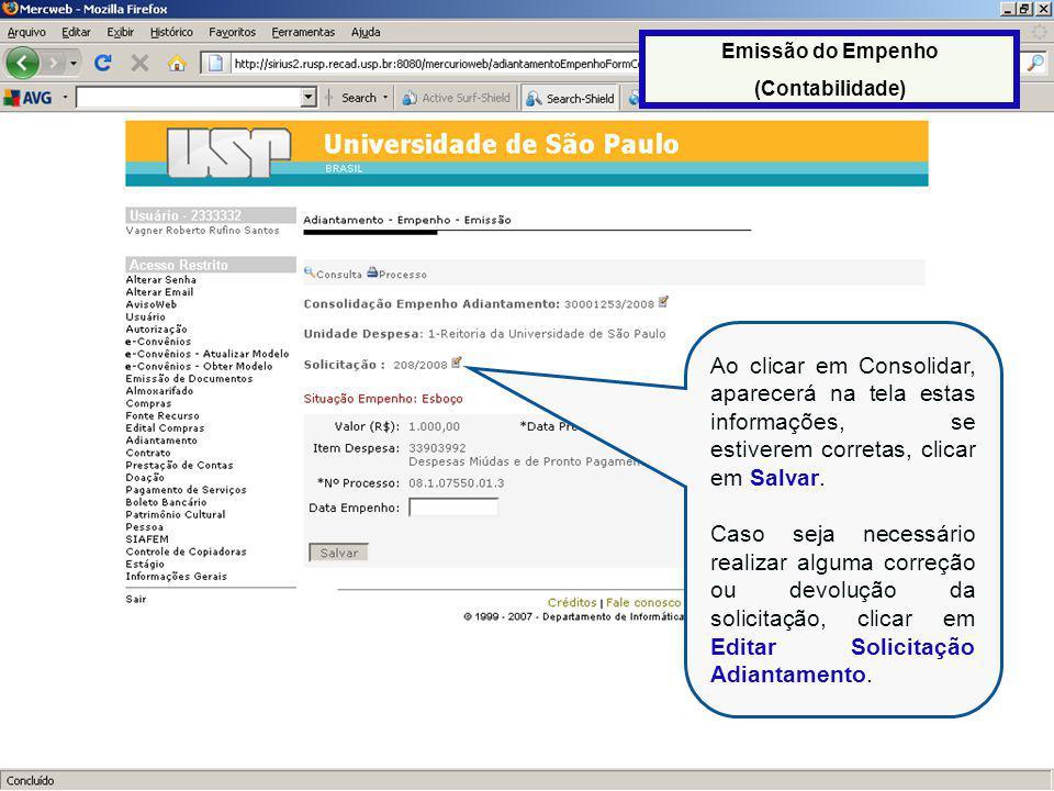 51 Ao clicar em Consolidar, aparecerá na tela estas informações, se estiverem corretas, clicar em Salvar.