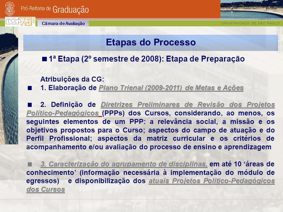 Etapas do Processo 1ª Etapa (2º semestre de 2008): Etapa de Preparação Atribuições da CG: Plano Trienal (2009-2011) de Metas e Ações 1. Elaboração de
