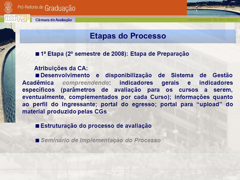 Etapas do Processo 1ª Etapa (2º semestre de 2008): Etapa de Preparação Atribuições da CA: Desenvolvimento e disponibilização de Sistema de Gestão Acad