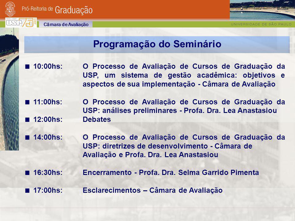 Programação do Seminário 10:00hs: O Processo de Avaliação de Cursos de Graduação da USP, um sistema de gestão acadêmica: objetivos e aspectos de sua i