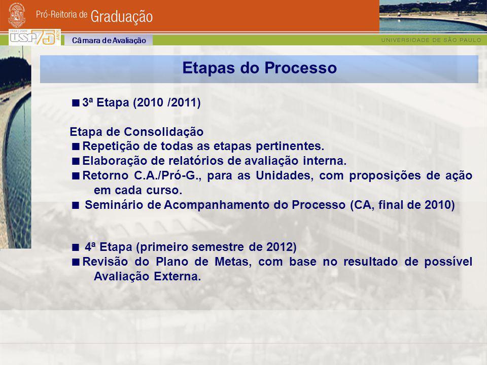 Etapas do Processo 3ª Etapa (2010 /2011) Etapa de Consolidação Repetição de todas as etapas pertinentes. Elaboração de relatórios de avaliação interna