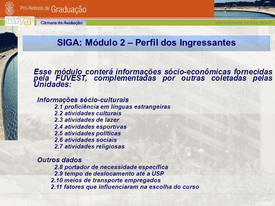 SIGA: Módulo 2 – Perfil dos Ingressantes Esse módulo conterá informações sócio-econômicas fornecidas pela FUVEST, complementadas por outras coletadas