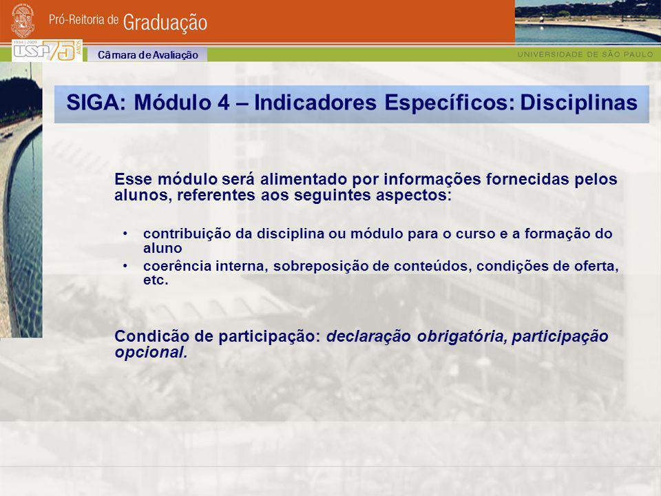 SIGA: Módulo 4 – Indicadores Específicos: Disciplinas Esse módulo será alimentado por informações fornecidas pelos alunos, referentes aos seguintes as