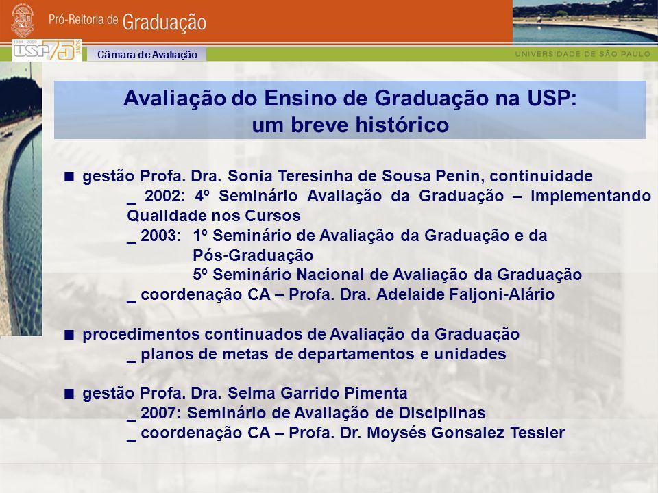 USP: estrutura legal para ações na graduação 1989: Pró-Reitoria de Graduação e Conselho de Graduação Comissões de Graduação (CGs) _ Resolução CoG 3741, setembro de 1990 (alterada pela Resolução CoG 3855, agosto de 1991) Comissões de Coordenação de Curso (CoCs) _ Resolução CoG 3740, setembro de 1990 (alterada pela Resolução CoG 5264, novembro de 2005) Câmara de Avaliação