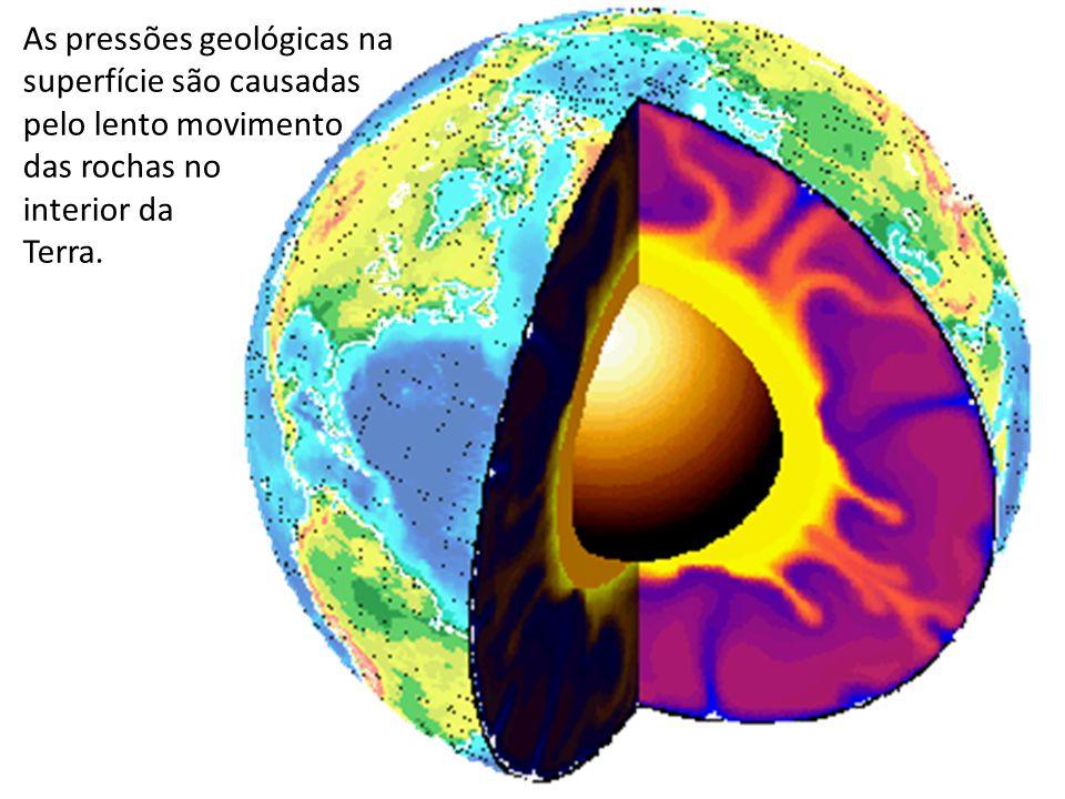 As pressões geológicas na superfície são causadas pelo lento movimento das rochas no interior da Terra.