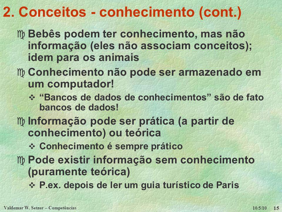 10/5/10 Valdemar W. Setzer – Competências 15 2. Conceitos - conhecimento (cont.) c Bebês podem ter conhecimento, mas não informação (eles não associam