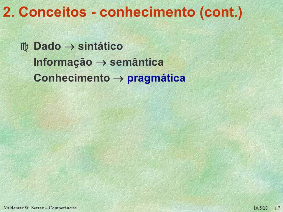 10/5/10 Valdemar W. Setzer – Competências 17 2. Conceitos - conhecimento (cont.) c Dado sintático Informação semântica Conhecimento pragmática