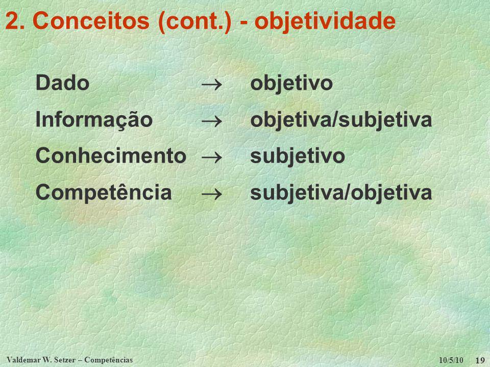 10/5/10 Valdemar W. Setzer – Competências 19 2. Conceitos (cont.) - objetividade Dado objetivo Informação objetiva/subjetiva Conhecimento subjetivo Co