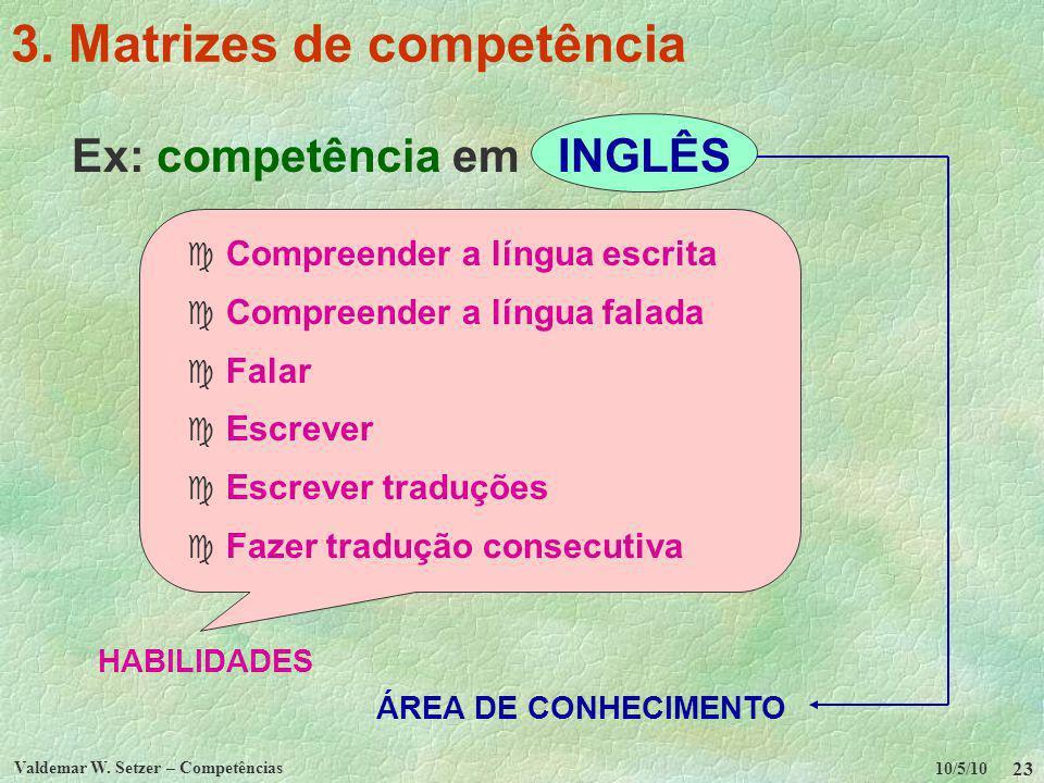 10/5/10 Valdemar W. Setzer – Competências 23 3. Matrizes de competência Ex: competência em INGLÊS c Compreender a língua escrita c Compreender a língu
