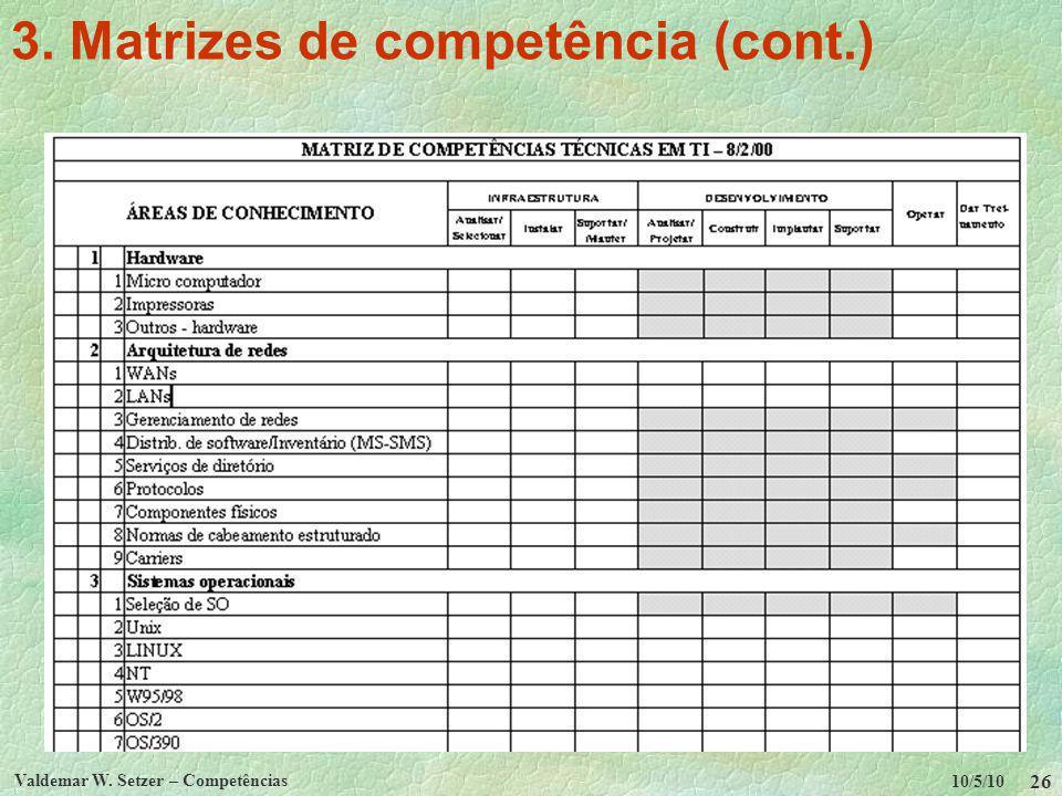 10/5/10 Valdemar W. Setzer – Competências 26 3. Matrizes de competência (cont.)