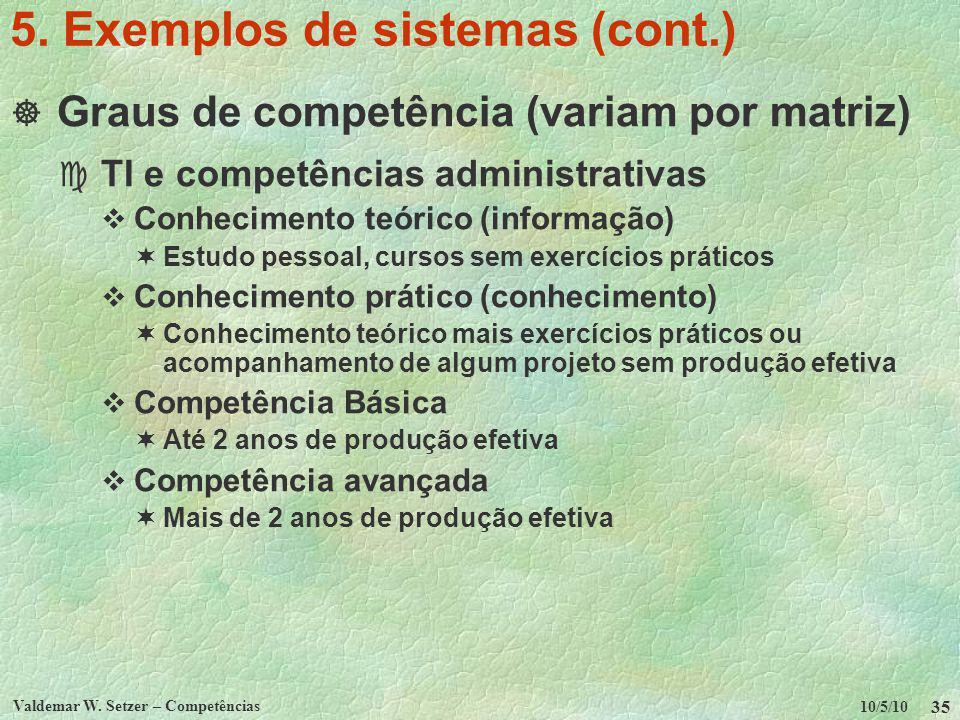 10/5/10 Valdemar W. Setzer – Competências 35 5. Exemplos de sistemas (cont.) Graus de competência (variam por matriz) c TI e competências administrati