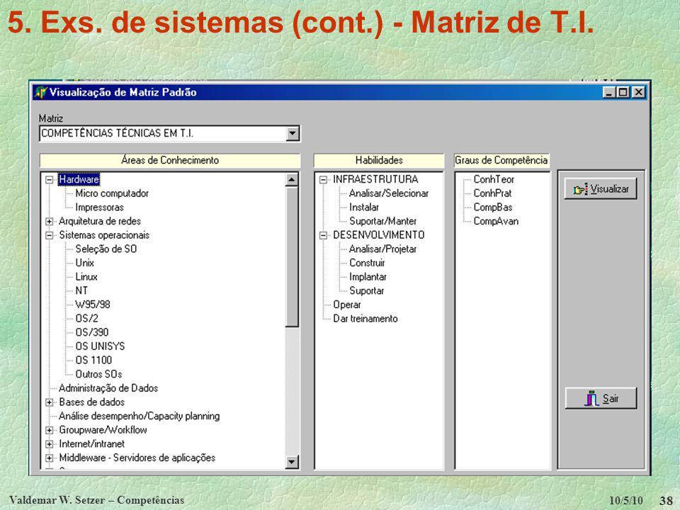10/5/10 Valdemar W. Setzer – Competências 38 5. Exs. de sistemas (cont.) - Matriz de T.I.