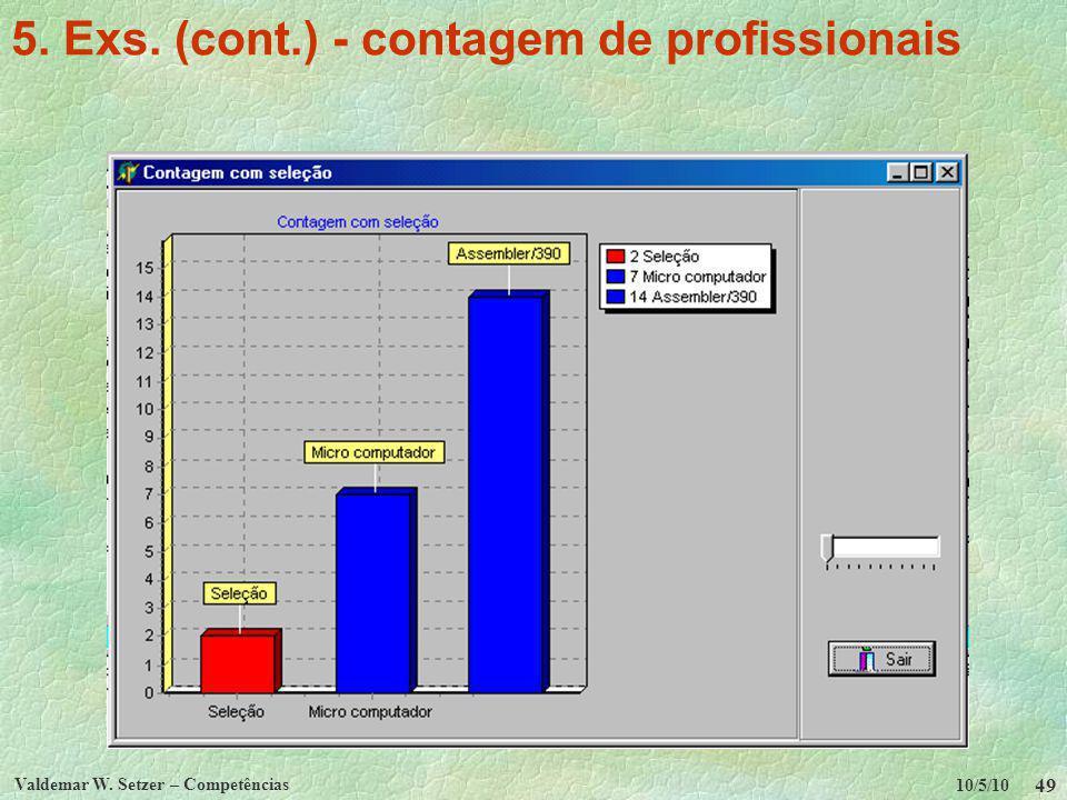 10/5/10 Valdemar W. Setzer – Competências 49 5. Exs. (cont.) - contagem de profissionais
