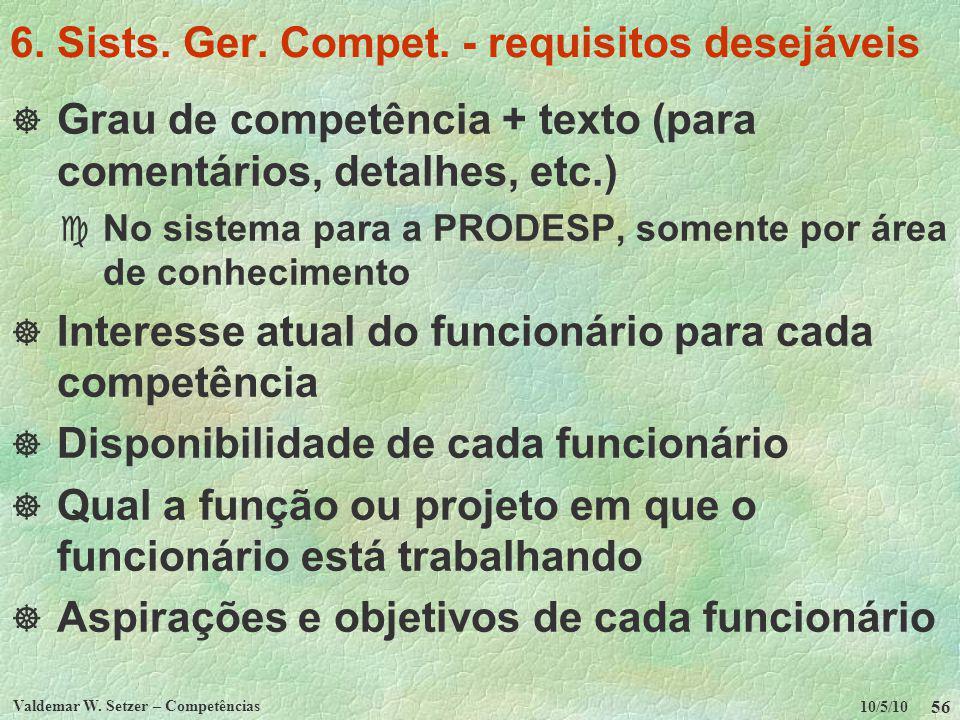 10/5/10 Valdemar W. Setzer – Competências 56 6. Sists. Ger. Compet. - requisitos desejáveis Grau de competência + texto (para comentários, detalhes, e