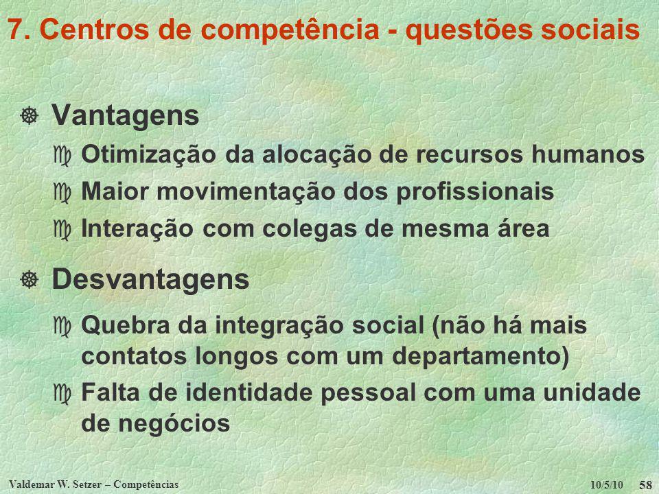 10/5/10 Valdemar W. Setzer – Competências 58 7. Centros de competência - questões sociais Vantagens c Otimização da alocação de recursos humanos c Mai