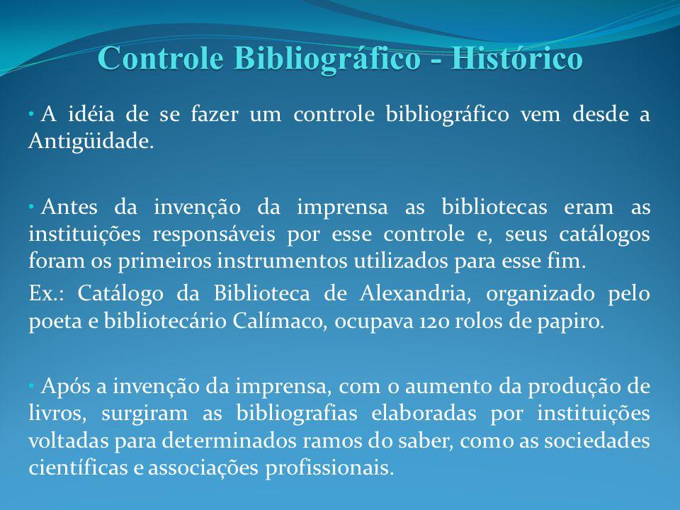A idéia de se fazer um controle bibliográfico vem desde a Antigüidade. Antes da invenção da imprensa as bibliotecas eram as instituições responsáveis