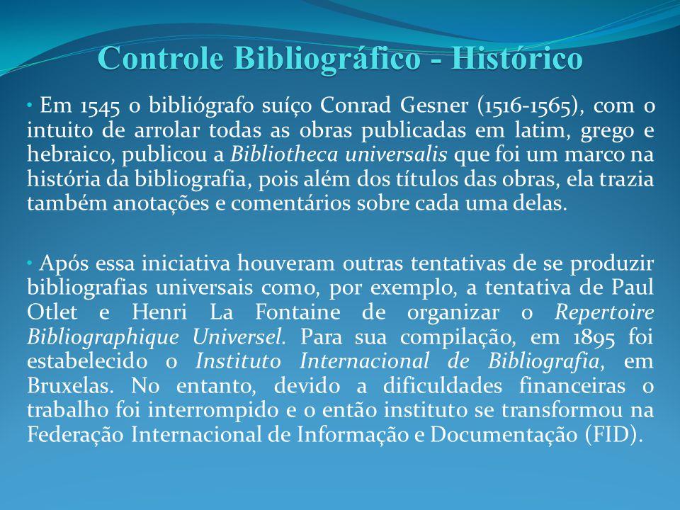 Em 1545 o bibliógrafo suíço Conrad Gesner (1516-1565), com o intuito de arrolar todas as obras publicadas em latim, grego e hebraico, publicou a Bibli