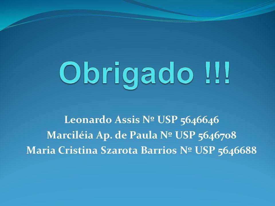 Leonardo Assis Nº USP 5646646 Marciléia Ap. de Paula Nº USP 5646708 Maria Cristina Szarota Barrios Nº USP 5646688