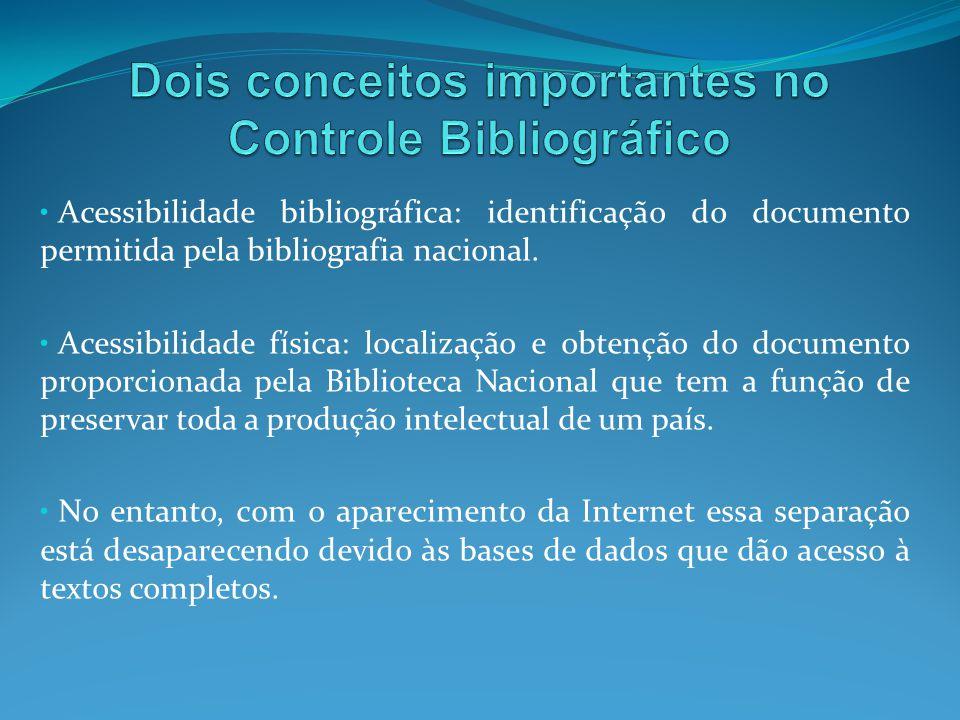 Acessibilidade bibliográfica: identificação do documento permitida pela bibliografia nacional. Acessibilidade física: localização e obtenção do docume