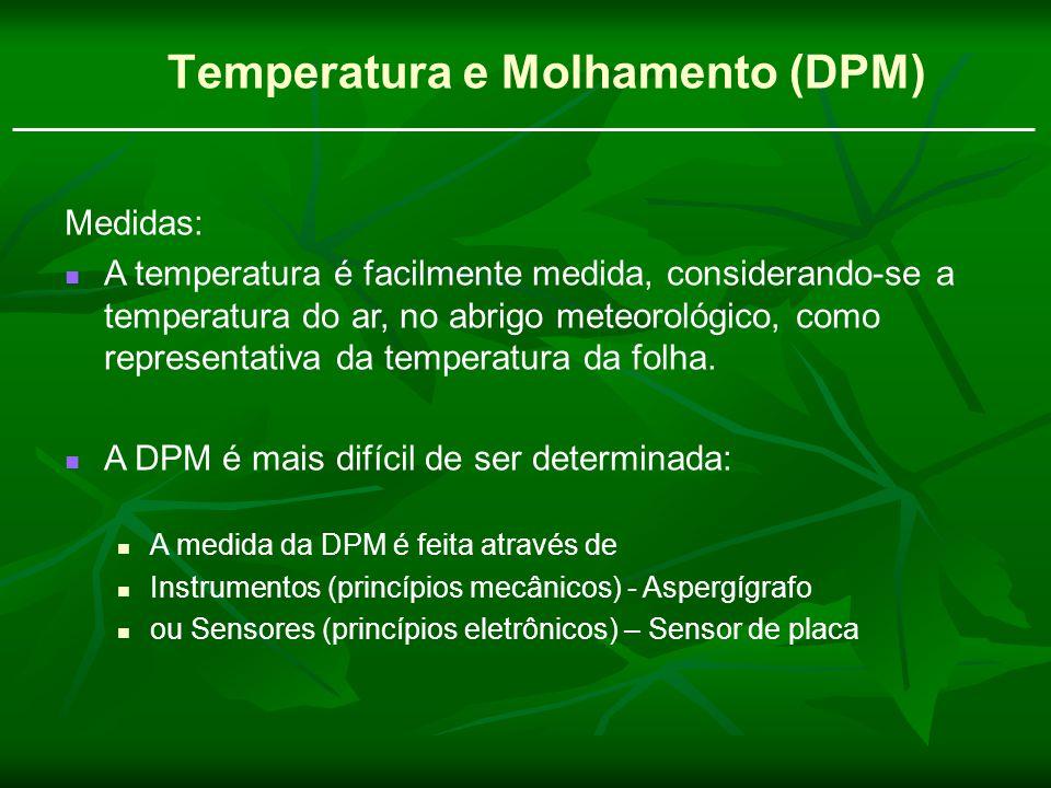 Temperatura e Molhamento (DPM) Medidas: A temperatura é facilmente medida, considerando-se a temperatura do ar, no abrigo meteorológico, como represen