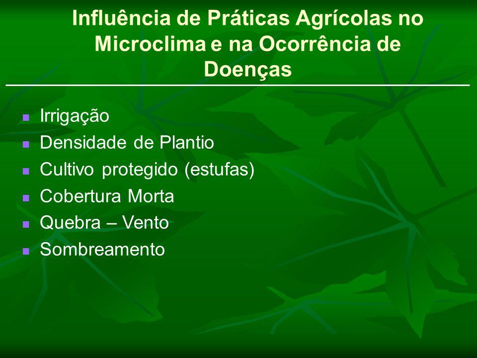 Influência de Práticas Agrícolas no Microclima e na Ocorrência de Doenças Irrigação Densidade de Plantio Cultivo protegido (estufas) Cobertura Morta Q