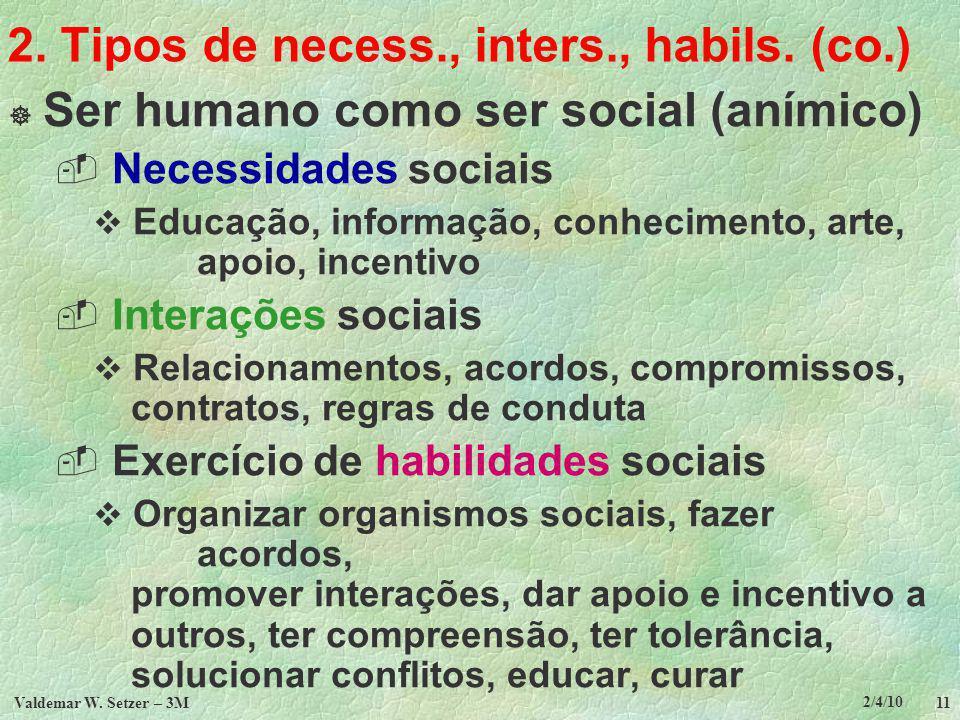 2/4/10 Valdemar W.Setzer – 3M 11 2. Tipos de necess., inters., habils.