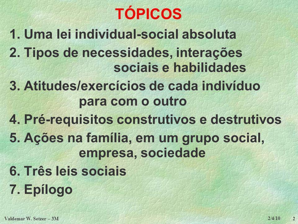 2/4/10 Valdemar W.Setzer – 3M 13 TÓPICOS 1. Uma lei individual-social absoluta 2.