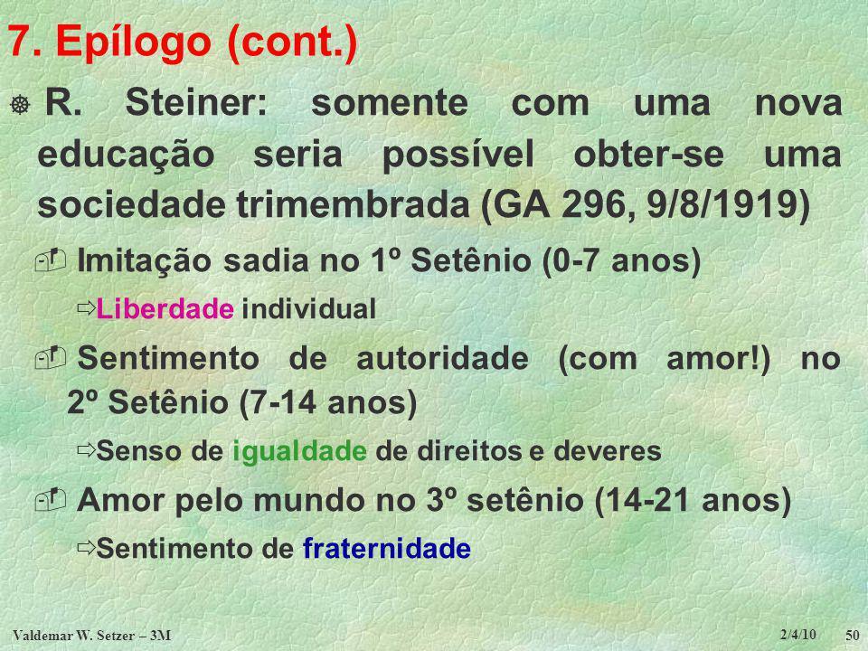2/4/10 Valdemar W.Setzer – 3M 50 7. Epílogo (cont.) R.