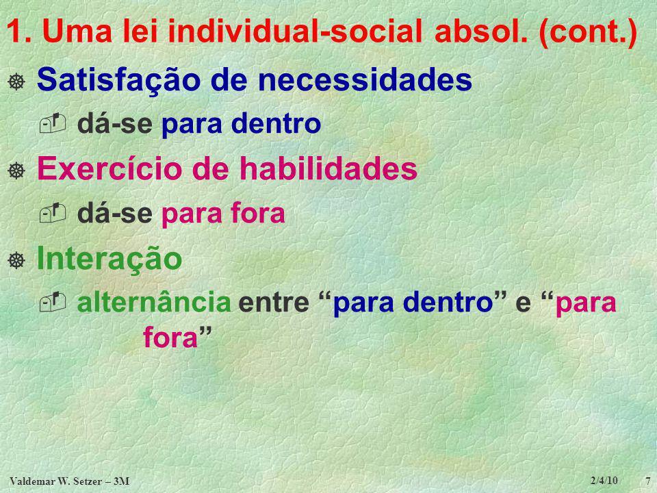 2/4/10 Valdemar W.Setzer – 3M 8 TÓPICOS 1. Uma lei individual-social absoluta 2.