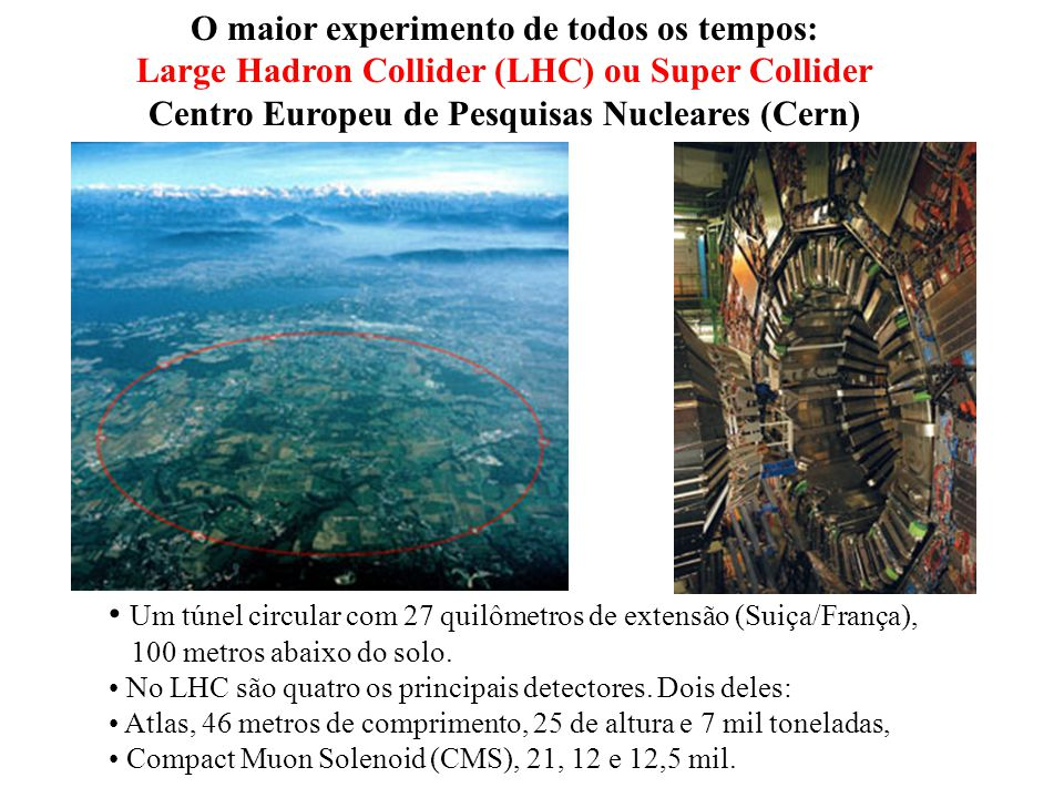 O maior experimento de todos os tempos: Large Hadron Collider (LHC) ou Super Collider Centro Europeu de Pesquisas Nucleares (Cern) Um túnel circular c