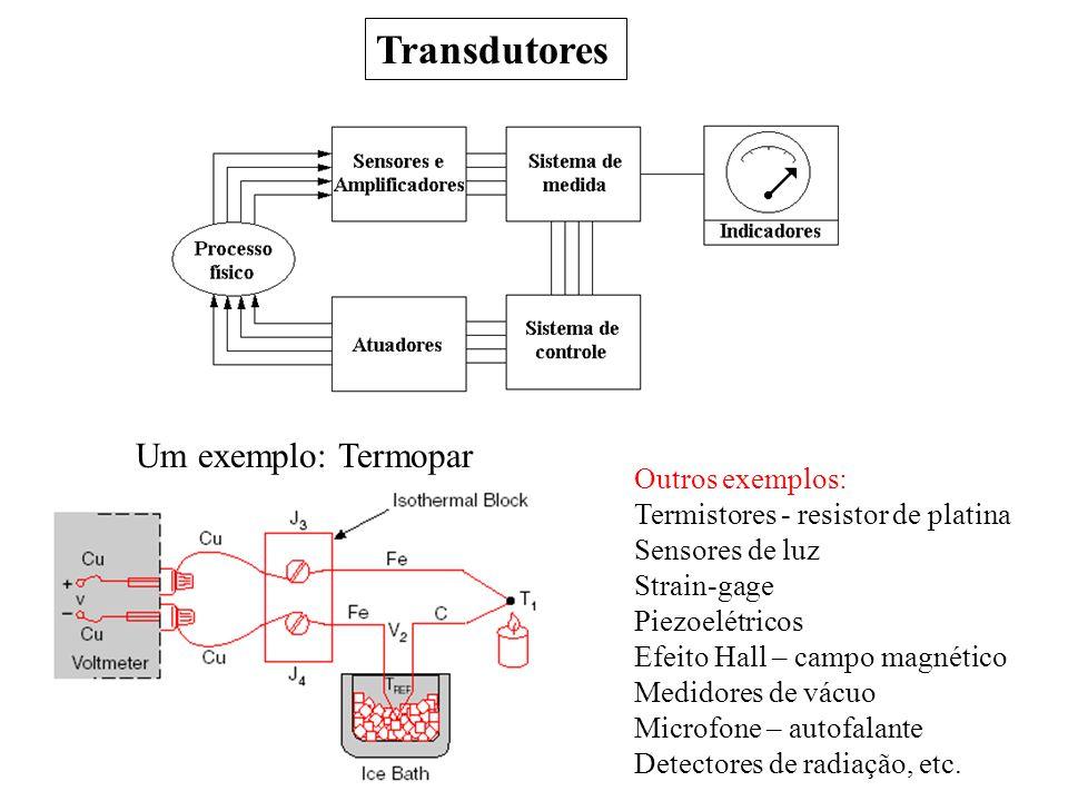 Transdutores Um exemplo: Termopar Outros exemplos: Termistores - resistor de platina Sensores de luz Strain-gage Piezoelétricos Efeito Hall – campo ma