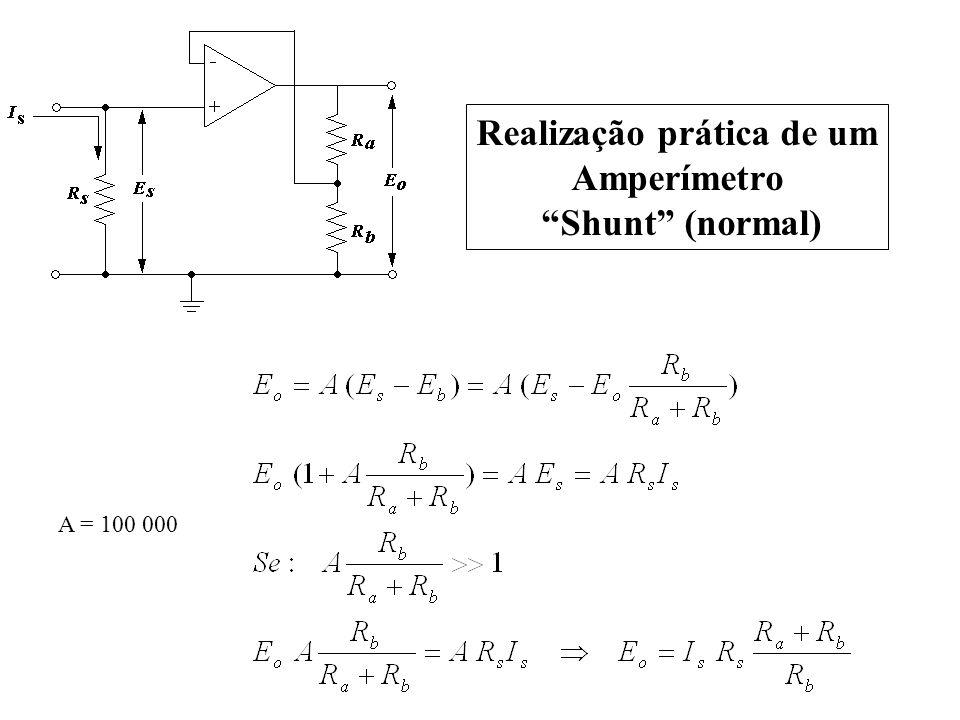 A = 100 000 Realização prática de um Amperímetro Shunt (normal)