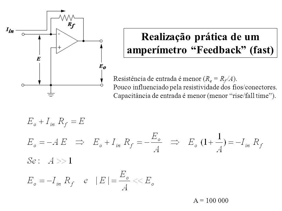 A = 100 000 Resistência de entrada é menor (R e = R f /A). Pouco influenciado pela resistividade dos fios/conectores. Capacitância de entrada é menor