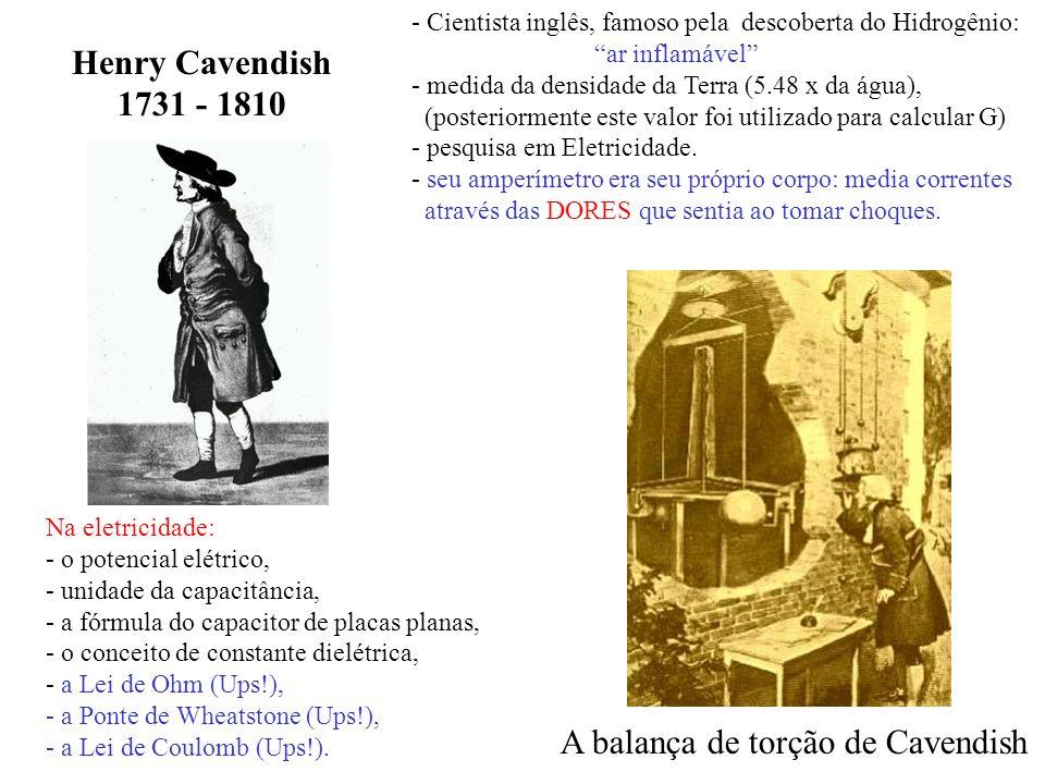 Henry Cavendish 1731 - 1810 - Cientista inglês, famoso pela descoberta do Hidrogênio: ar inflamável - medida da densidade da Terra (5.48 x da água), (