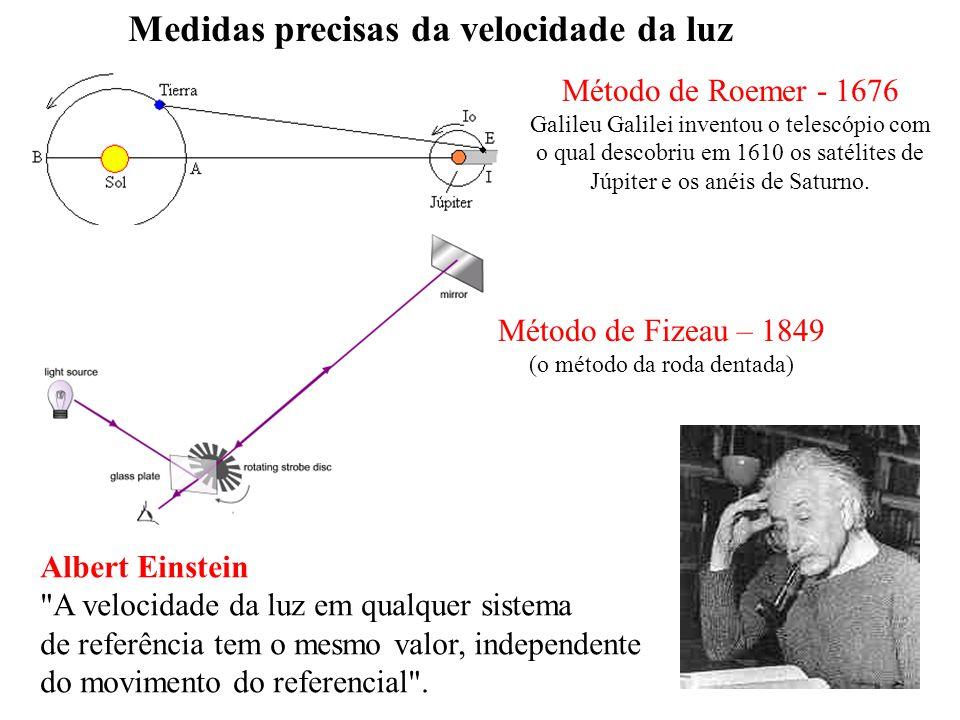 Medidas precisas da velocidade da luz Método de Roemer - 1676 Galileu Galilei inventou o telescópio com o qual descobriu em 1610 os satélites de Júpit