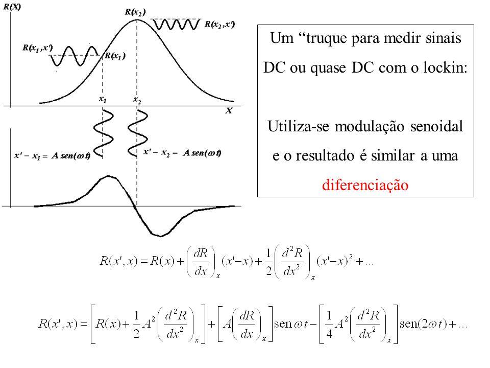 Um truque para medir sinais DC ou quase DC com o lockin: Utiliza-se modulação senoidal e o resultado é similar a uma diferenciação