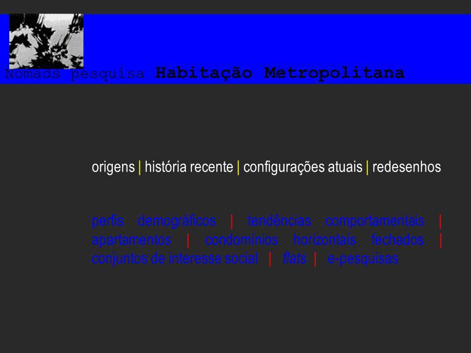 Nomads pesquisa Habitação Metropolitana origens | história recente | configurações atuais | redesenhos perfis demográficos | tendências comportamentais | apartamentos | condomínios horizontais fechados | conjuntos de interesse social | flats | e-pesquisas