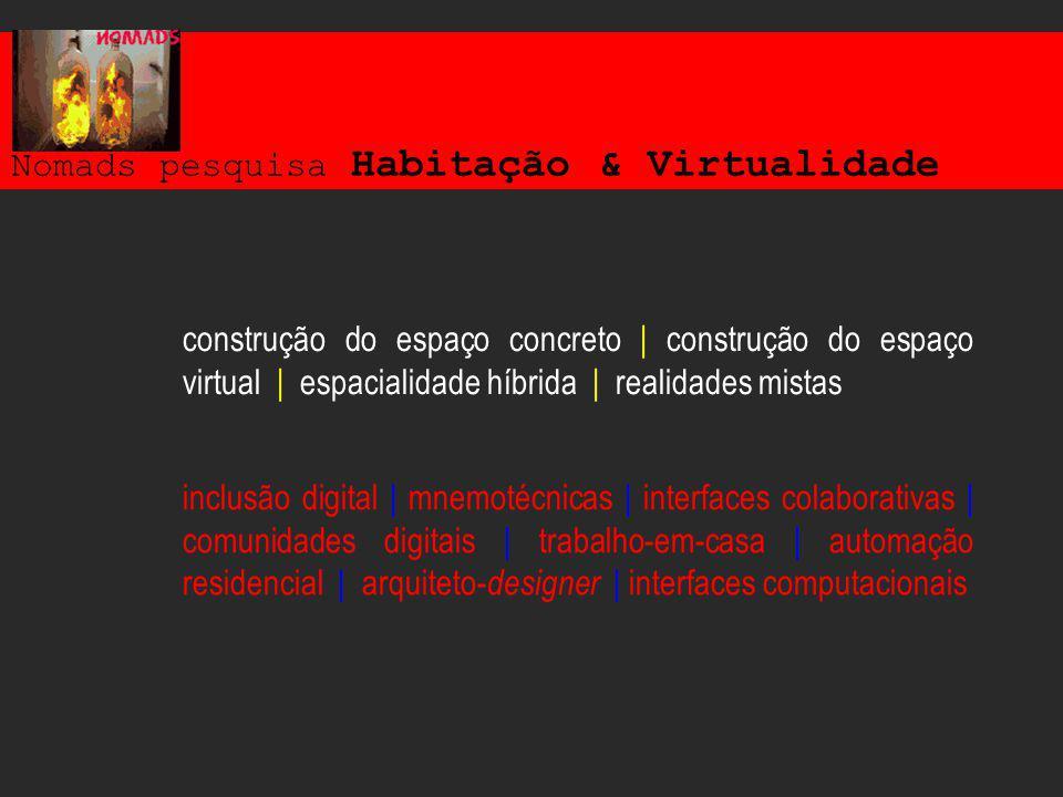 Nomads pesquisa Habitação & Virtualidade inclusão digital | mnemotécnicas | interfaces colaborativas | comunidades digitais | trabalho-em-casa | automação residencial | arquiteto- designer | interfaces computacionais construção do espaço concreto | construção do espaço virtual | espacialidade híbrida | realidades mistas