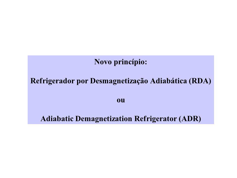 Novo princípio: Refrigerador por Desmagnetização Adiabática (RDA) ou Adiabatic Demagnetization Refrigerator (ADR)