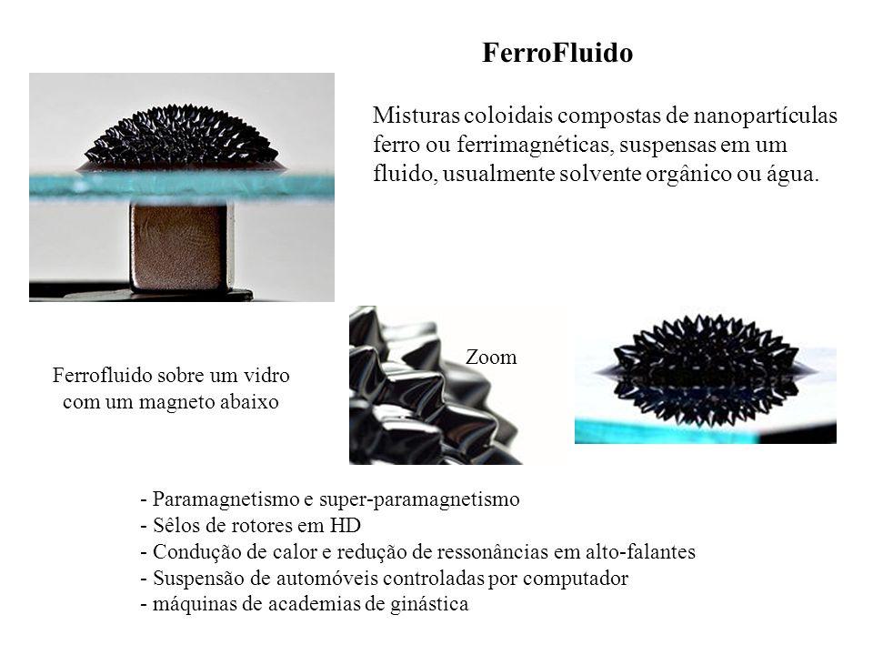 Ferrofluido sobre um vidro com um magneto abaixo Zoom FerroFluido Misturas coloidais compostas de nanopartículas ferro ou ferrimagnéticas, suspensas e