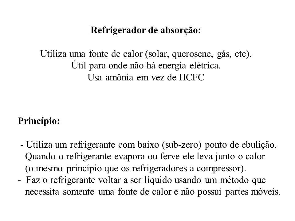 Refrigerador de absorção: Utiliza uma fonte de calor (solar, querosene, gás, etc). Útil para onde não há energia elétrica. Usa amônia em vez de HCFC P