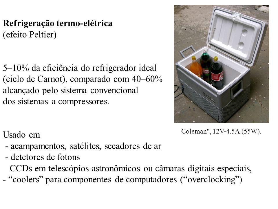 Refrigeração termo-elétrica (efeito Peltier) 5–10% da eficiência do refrigerador ideal (ciclo de Carnot), comparado com 40–60% alcançado pelo sistema