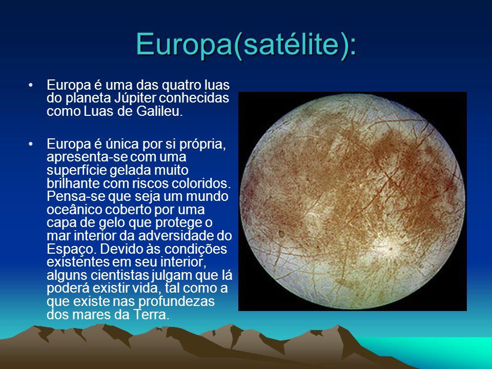Esta é a apresentação de slides sobre o satélite Europa e o satélite Io, duas das 63 luas de Júpiter