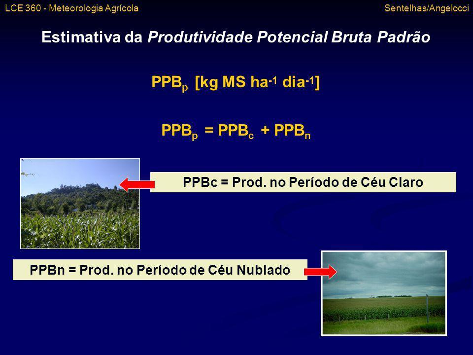 Estimativa da Produtividade Potencial Bruta Padrão PPB p [kg MS ha -1 dia -1 ] PPB p = PPB c + PPB n PPBc = Prod. no Período de Céu Claro PPBn = Prod.
