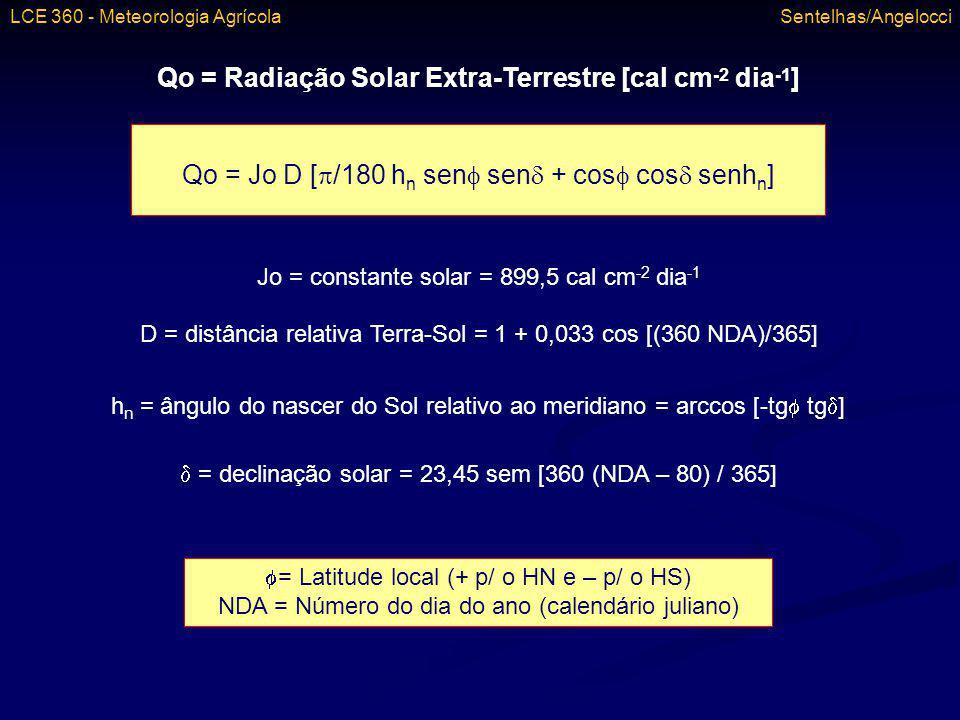 Qo = Radiação Solar Extra-Terrestre [cal cm -2 dia -1 ] Qo = Jo D [ /180 h n sen sen + cos cos senh n ] Jo = constante solar = 899,5 cal cm -2 dia -1