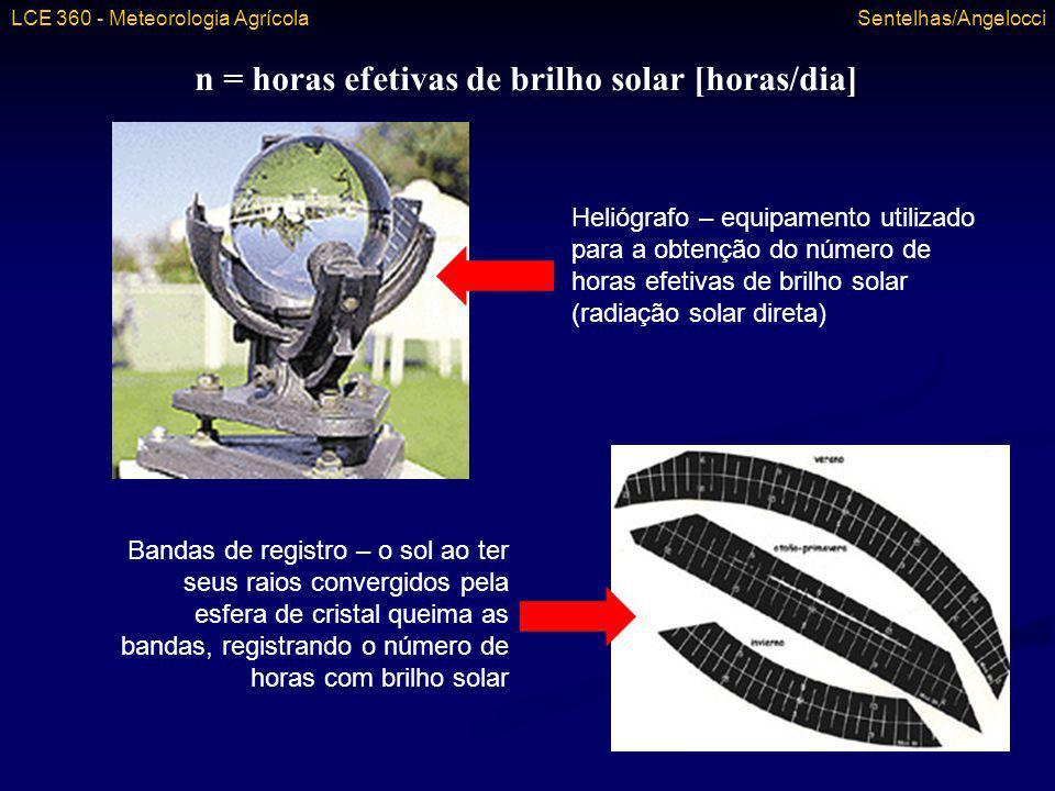 n = horas efetivas de brilho solar [horas/dia] Heliógrafo – equipamento utilizado para a obtenção do número de horas efetivas de brilho solar (radiaçã