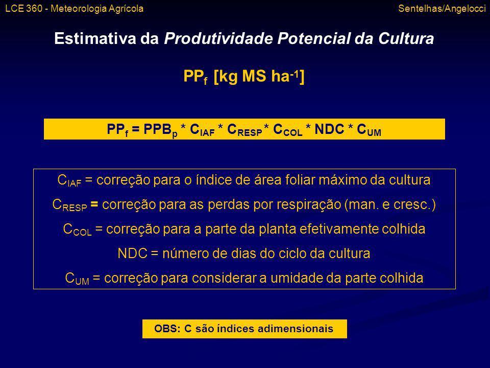 Estimativa da Produtividade Potencial da Cultura PP f [kg MS ha -1 ] PP f = PPB p * C IAF * C RESP * C COL * NDC * C UM C IAF = correção para o índice