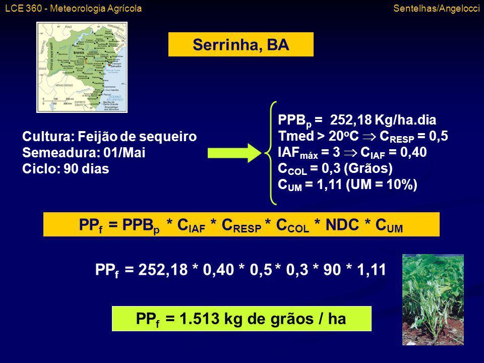 Serrinha, BA Cultura: Feijão de sequeiro Semeadura: 01/Mai Ciclo: 90 dias PPB p = 252,18 Kg/ha.dia Tmed > 20 o C C RESP = 0,5 IAF máx = 3 C IAF = 0,40