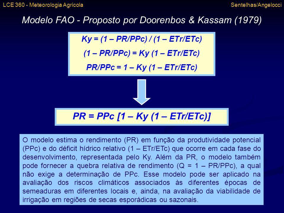 Modelo FAO - Proposto por Doorenbos & Kassam (1979) Ky = (1 – PR/PPc) / (1 – ETr/ETc) (1 – PR/PPc) = Ky (1 – ETr/ETc) PR/PPc = 1 – Ky (1 – ETr/ETc) PR