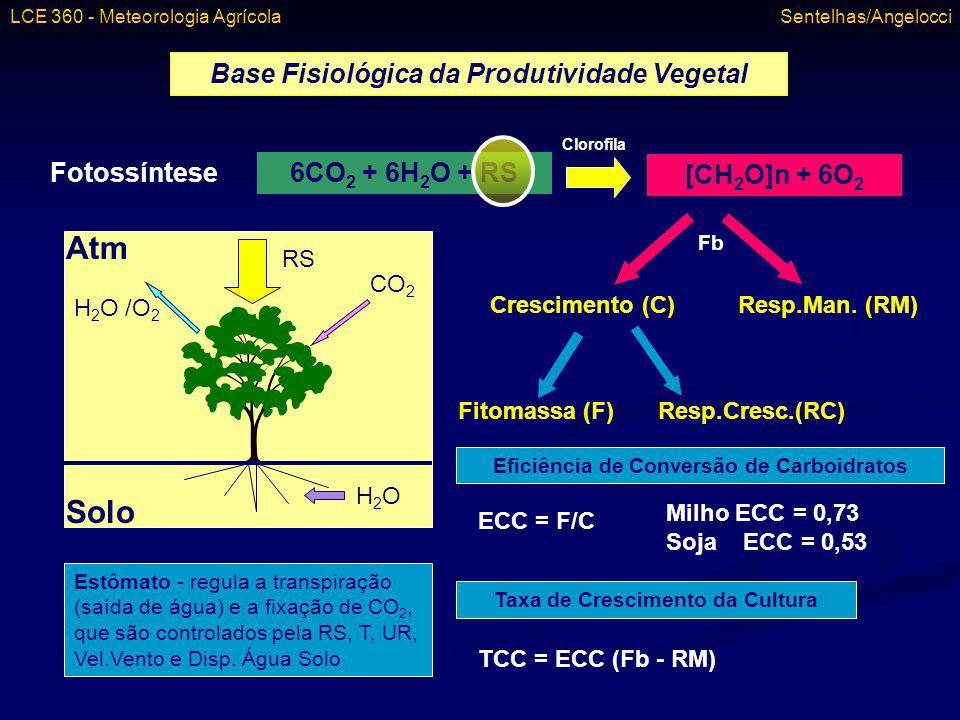 Base Fisiológica da Produtividade Vegetal Fotossíntese 6CO 2 + 6H 2 O + RS [CH 2 O]n + 6O 2 Clorofila Solo Atm H2OH2O RS CO 2 H 2 O /O 2 Estômato - re